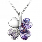 "EQute PSWW124C6 Elegant Austrian Crystal Four Leaf Clover Pendant Necklace - Purple+ Silver (16"")"