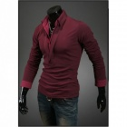 MUGE 8014 Men's Slim Fit Leisure Long Sleeve POLO Shirt - Wine Red (XXL)