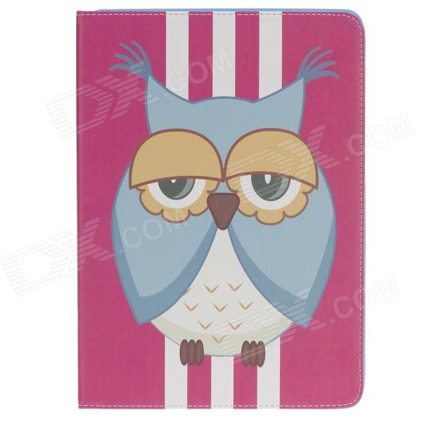 Stylish Owl Pattern Protective PU Leather Case Cover Stand for Ipad AIR - Deep Pink + Yellow + White stylish owl pattern protective pu leather case cover stand for ipad air deep pink yellow white