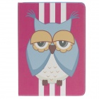 Stylish Owl Pattern Protective PU Leather Case Cover Stand for Ipad AIR - Deep Pink + Yellow + White