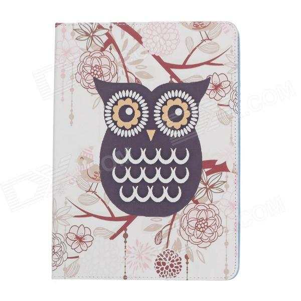 Stylish Owl Pattern Protective PU Leather Case Cover Stand for Ipad AIR - White + Deep Purple + Blue stylish owl pattern protective pu leather case cover stand for ipad air deep pink yellow white