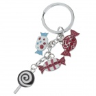 Lovely Sweet Style Stainless Steel Keychain - Silver + Red