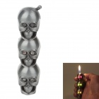 Stylish LED Eyes Skull Heads Pattern Gas Lighter - Silver (3 x LR621)