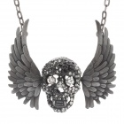 Skull Necklace Antique Retro Necklace + Black Wings - Silver Gray
