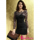 Leopard Sleeves and Black Shirred Skirt Dress - Black + Leopard Print