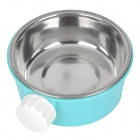 E4LJ 2-in-1 Plastic + Stainless Steel Bowl for Dog Cat Pet - Blue + Silver