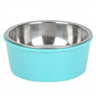 2-in-1 Plastic + Stainless Steel Bowl for Dog Cat Pet - Blue + Silver
