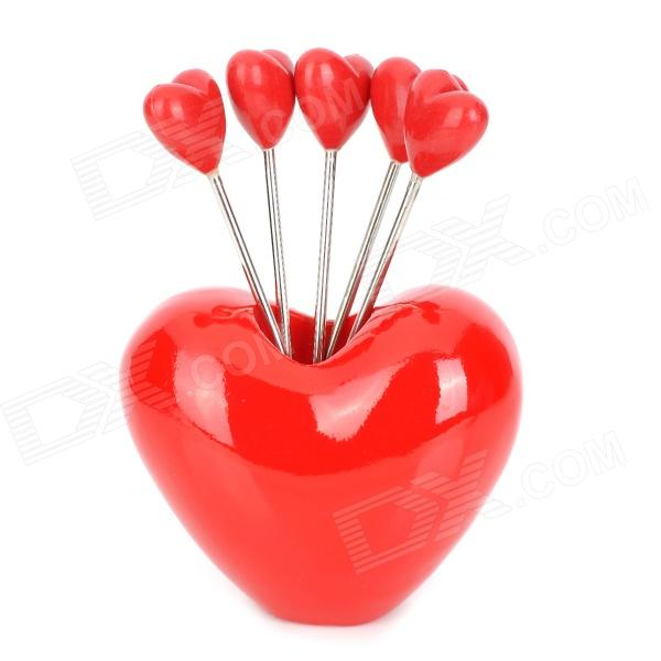 Heart Shaped Stainless Steel Fruit Fork - Red + Silver