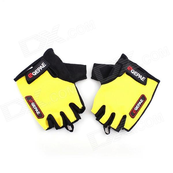 QEPAE F035 Sports Bicycle Anti-Slip Breathable Half-Finger Gloves - Black + Yellow (XL / Pair) pro biker mcs 04 motorcycle racing half finger protective gloves red black size m pair