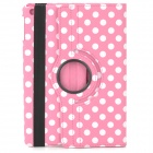 Stylish Polka Dot Pattern 360' Rotating Back Protective PC + PU Case w/ Holder for Ipad AIR / 5