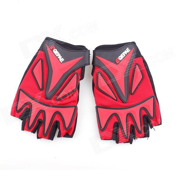 QEPAE F038 Outdoor Sports Bicycle Anti-Slip Breathable Half-Finger Gloves - Black + Red (L / Pair)