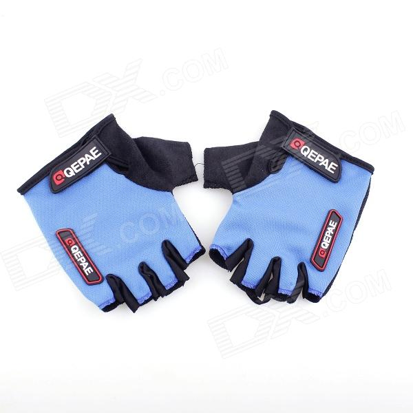 QEPAE F035 Outdoor Sports Bicycle Anti-Slip Breathable Half-Finger Gloves - Black +Blue (XL / Pair) pro biker mcs 04 motorcycle racing half finger protective gloves red black size m pair