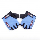 QEPAE F035 Outdoor Sports Bicycle Anti-Slip Breathable Half-Finger Gloves - Black +Blue (XL / Pair)