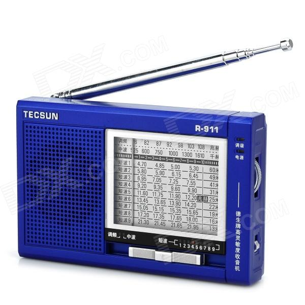 TECSUN R-911 11 Wave Band FM / MW / SW Radio - Blue (2 x AA) nktech cez 7c 1w 7w 76 108mhz backlight lcdstereo pll fm transmitter radio broadcast station ac adapter antenna audiocable
