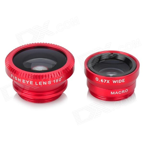 Universal Macro Lens + Wide Angle Fisheye Lens w/ Clip for IPhone / Samsung / HTC + More - Red