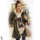 Women's Casual Long Sections Warm Cotton Coat - Army Green (L)
