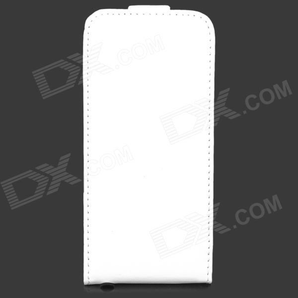 A-336 Protective Flip-open PU + Plastic Case for Iphone 5 / 5s - White a 336 flower pattern protective top flip open pu plastic case for iphone 4 iphone 4s