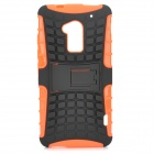 Stylish Protective TPU + PC Back Case w/ Holder for HTC One Max (T6) - Black + Orange
