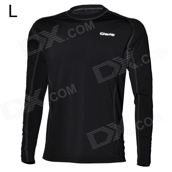 Outto Men's Sports High Elasticity Tight Long-Sleeve Shirt - Black (Size L)