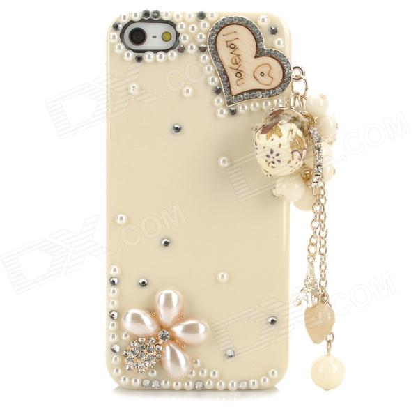 Fashionable Shiny Crystal-inlaid Heart Charm Protective Resin Back Case for Iphone 5 / 5s - White princess style shiny crystal back case for iphone 5 white