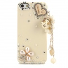 Fashionable Shiny Crystal-inlaid Heart Charm Protective Resin Back Case for Iphone 5 / 5s - White