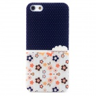 HOTSION i5-T12 Flower Pattern Protective PC Back Case for Iphone 5 / Iphone 5S - White + Blue