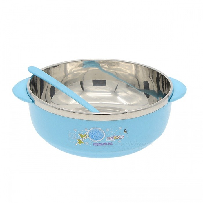 S02JX8854 Environmental Stainless Steel Liner Heat Insulation Bowl - Yellow + Silver (300mL)
