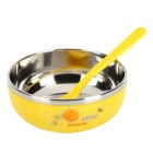 LX8852 Environmental Stainless Steel Liner Heat Insulation Bowl - Yellow + Silver (200mL)