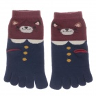 100% Cotton Fashionable Women's 5-Toe Socks - Blue + Wine Red (Pair)