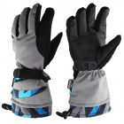 Keeping Warm Ski Gloves - Grey + Black + Blue (Size M)