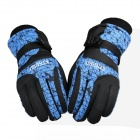 Kineed Keeping Warm Ski Gloves - Black + Blue(Size L)