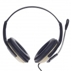 Microkingdom A6 USB Wired Stereo Headphones w/ Microphone / Wired Control - Black + Golden + Silver