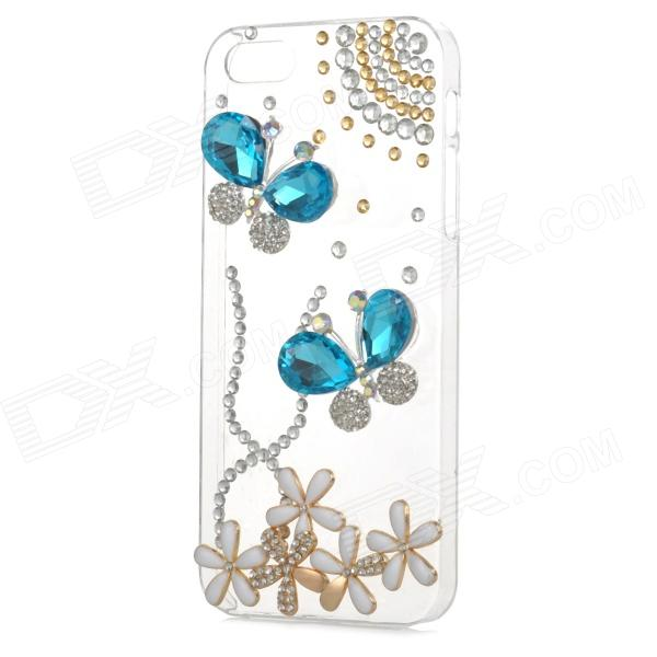 Rhinestone Butterfly Style Protective Plastic Back Case for Iphone 5 / 5s - Transparent + Blue protective alloy horse decoration rhinestone studded back case for iphone 5 white transparent