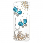 Rhinestone Butterfly Style Protective Plastic Back Case for Iphone 5 / 5s - Transparent + Blue