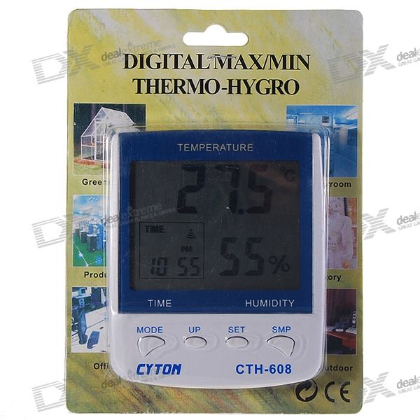 3.8 Digital LCD Humidity/Hygrometer and Thermometer with Time Display free shipping btho2 two channel humidity temperature and dew point data logger with usb interface and lcd display