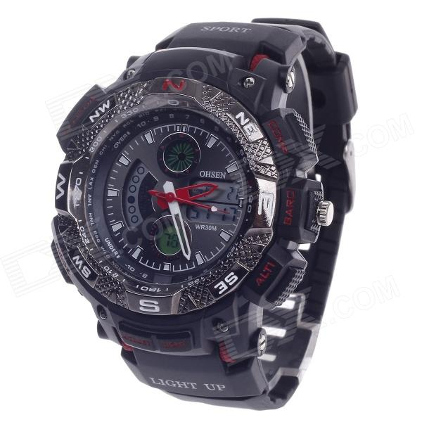 OHSEN AD1310 Men's Sport Analog + Digital Quartz Wrist Watch - Black + Red (1 x CR-2025)