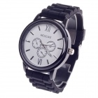 REDEWE RDW-002 Fashionable Rubber Wristband Men's Quartz Wrist Watch - Black + White (1 x LR626)
