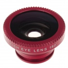 LX-U003 Universal 3-in-1 Clip Wide Angle Lens + Macro + Fisheye Lens - Black + Red
