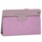 Lichee Pattern Protective PU Leather Case Cover Stand for Retina Ipad MINI - Pink