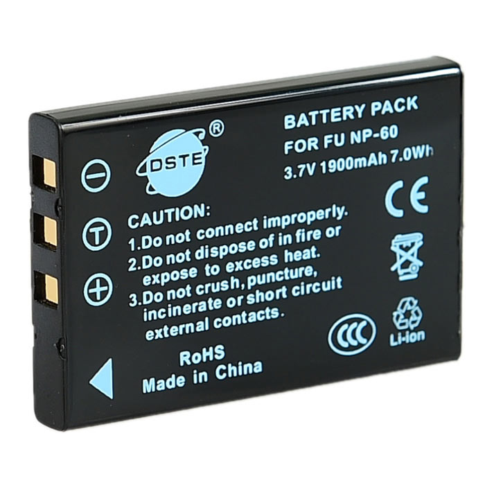DSTE 1900mAh Battery for CASIO / FUJIFILM / OLYMPUS + More - Black