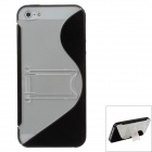 Fashionable Protective PC + TPU Back Case Stand for Iphone 5 / 5s - Black + Transparent