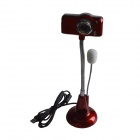 First Sight K2 USB 2.0 8.0 MP PC USB Webcam w/ Built-in Microphone / 1-LED Illuminated - Red
