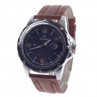 Daybird 3690 Men's Quartz PU Leather Wrist Watch w/ Simple Calendar - Brown + Black (1 x LR626)