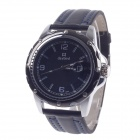 Daybird 3690 PU Leather Band Men's Quartz Wrist Watch w/ Simple Calendar - Black + Blue (1 x LR626)