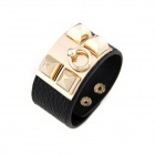 Fashionable Punk Rivets Style Zinc Alloy + PU Leather Women's Bracelet - Golden + Black