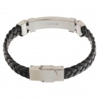 Decompression Anion PU Leather Non-Allergy Bracelet - Silver + Black