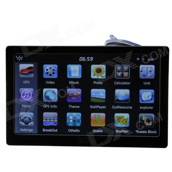 ST-E12 7.0 Resistive Screen WinCE 6.0 Car GPS Navigator w/ FM / 4GB Russia Map - Black
