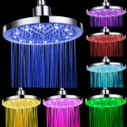 8 inch Bathroom Copper LED 7-Color Round Top Shower Head - Silver