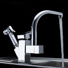 YDL-F-0521 Contemporary Chrome Centerset Two Spouts Kitchen Faucet - Silver