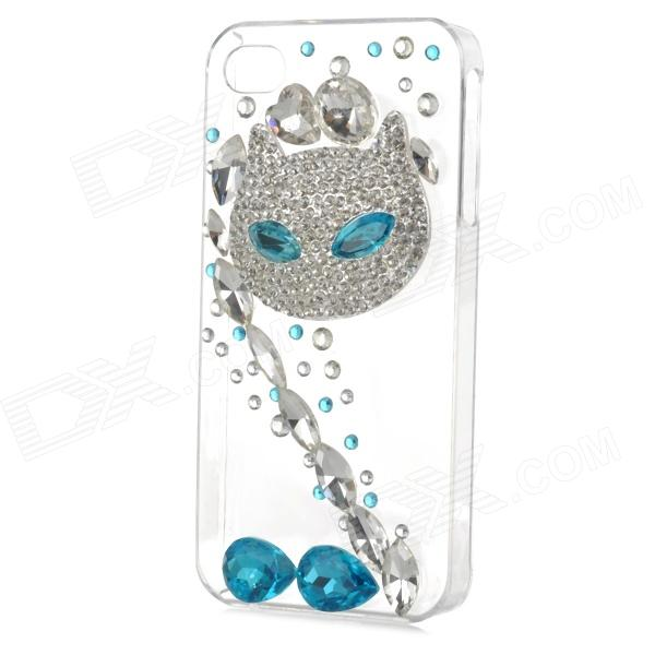 все цены на Rhinestone Fox Style Protective Plastic Back Case for Iphone 4 / 4s - Transparent + Blue онлайн